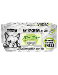 AbsorbPlus AntiBacterial Pet Wipes 80s (AloeVera) | Perromart Online Pet Store Singapore