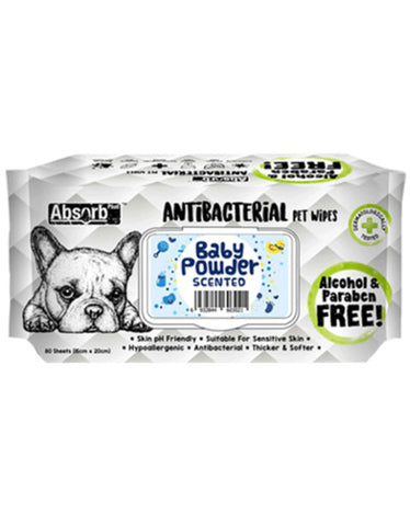 Absorb Plus AntiBacterial Pet Wipes 80pcs (BabyPowder) | Perromart Online Pet Store Singapore