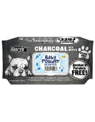 Absorb Plus Charcoal Pet Wipes 80pcs (Baby Powder) | Perromart Online Pet Store Singapore
