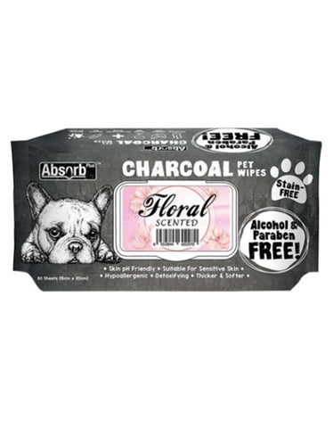 Absorb Plus Charcoal Pet Wipes 80pcs (Floral) | Perromart Online Pet Store Singapore