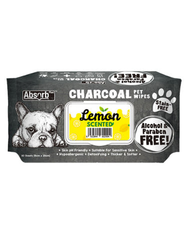 Absorb Plus Charcoal Pet Wipes 80pcs (Lemon) | Perromart Online Pet Store Singapore