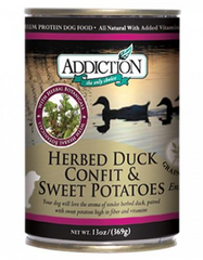 Addiction Herbed Duck Confit And Sweet Potato Entrée Canned Dog Food 369g | Perromart Online Pet Store Singapore