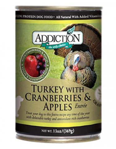 Addiction Turkey With Cranberries And Apples Entrée Canned Dog Food 369g | Perromart Online Pet Store Singapore