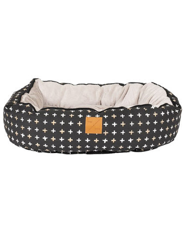 Mog & Bone 4 Seasons Reversible Bed Black Metallic Cross Print For Dog Small | Perromart Online Pet Store Singapore
