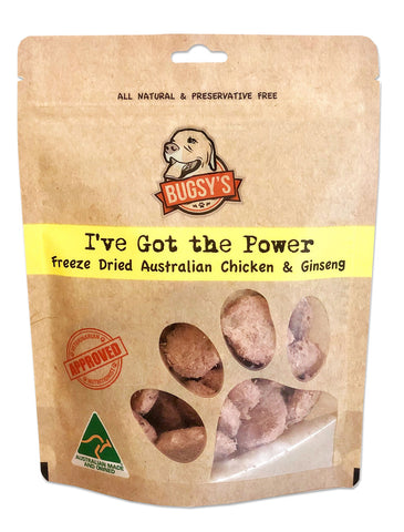Bugsy's I've Got the Power Chicken Dog Treats 70g | Perromart Online Pet Store Singapore