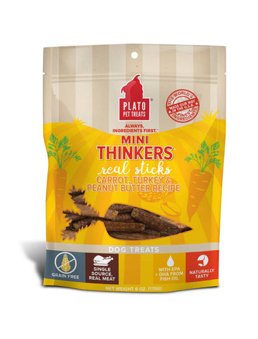 Plato Grain Free Mini Thinkers Carrot, Turkey & Peanut Butter Dog Treats 85g | Perromart Singapore