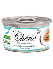 Chérie, Flaked Yellowfin Mix Skipjack Tuna Entrées in Gravy Cat Wet Food 80g  | Perromart Online Pet Store Singapore