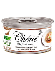 Chérie, Flaked Yellowfin Mix Skipjack Tuna with Chicken Entrées in Gravy Cat Wet Food 80g | Perromart Online Pet Store Singapore