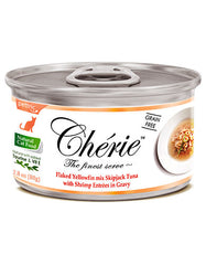 Chérie, Flaked Yellowfin Mix Skipjack Tuna with Shrimp Entrées in Gravy Cat Wet Food 80g | Perromart Online Pet Store Singapore