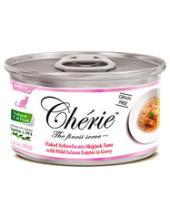 Chérie, Flaked Yellowfin Mix Skipjack Tuna with Wild Salmon Entrées in Gravy Cat Wet Food 80g  | Perromart Online Pet Store Singapore