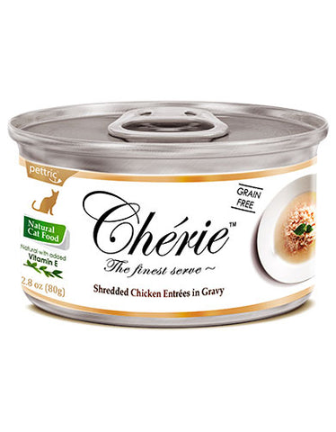 Chérie, Shredded Chicken Entrées in Gravy Cat Wet Food 80g | Perromart Online Pet Store Singapore