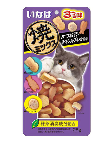 Ciao Soft Bits Mix – Tuna And Chicken Fillet With Dried Bonito Chicken Soup And Squid Flavor Cat Treats | Perromart Online Pet Store Singapore