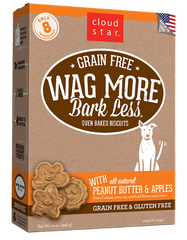 [TREATS SALE] [PRICES REDUCED] Cloud Star Wag More Bark Less Oven-Baked Grain Free Biscuits Peanut Butter & Apples 396g