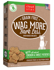 [TREATS SALE] [PRICES REDUCED] Cloud Star Wag More Bark Less Oven-Baked Grain Free Biscuits Chicken & Sweet Potatoes 396g