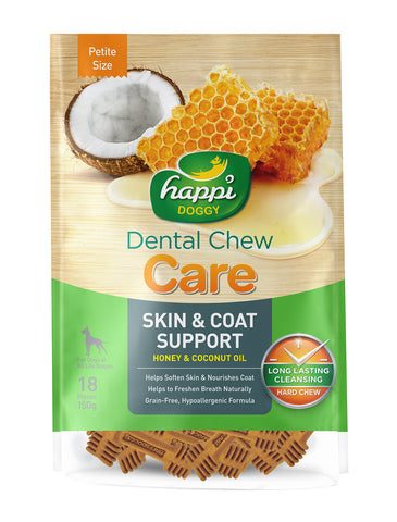 Happi Doggy Dental Chew Care Honey & Coconut Oil Skin & Coat Support 150g (2 Sizes) | Perromart Online Pet Store Singapore