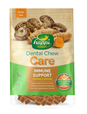 Happi Doggy Dental Chew Care Turmeric & Shitake Immune Support 150g (2 Sizes) | Perromart Online Pet Store Singapore