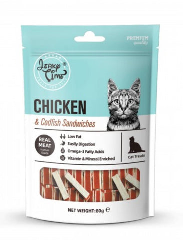 Jerky Time Chicken Jerky with Codfish Sandwich Cat Treat 80g | Perromart Online Pet Store Singapore