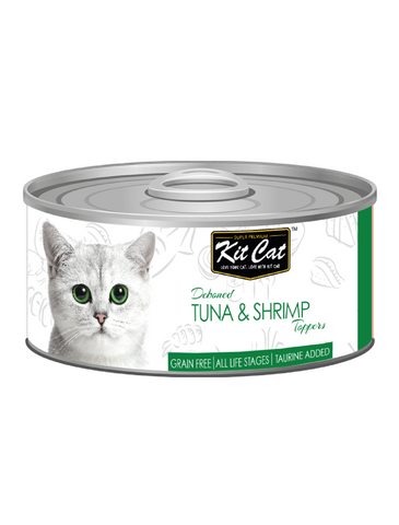 Kit Cat Deboned Tuna & Shrimp Toppers Canned Cat Food 80g | Perromart Online Pet Store Singapore