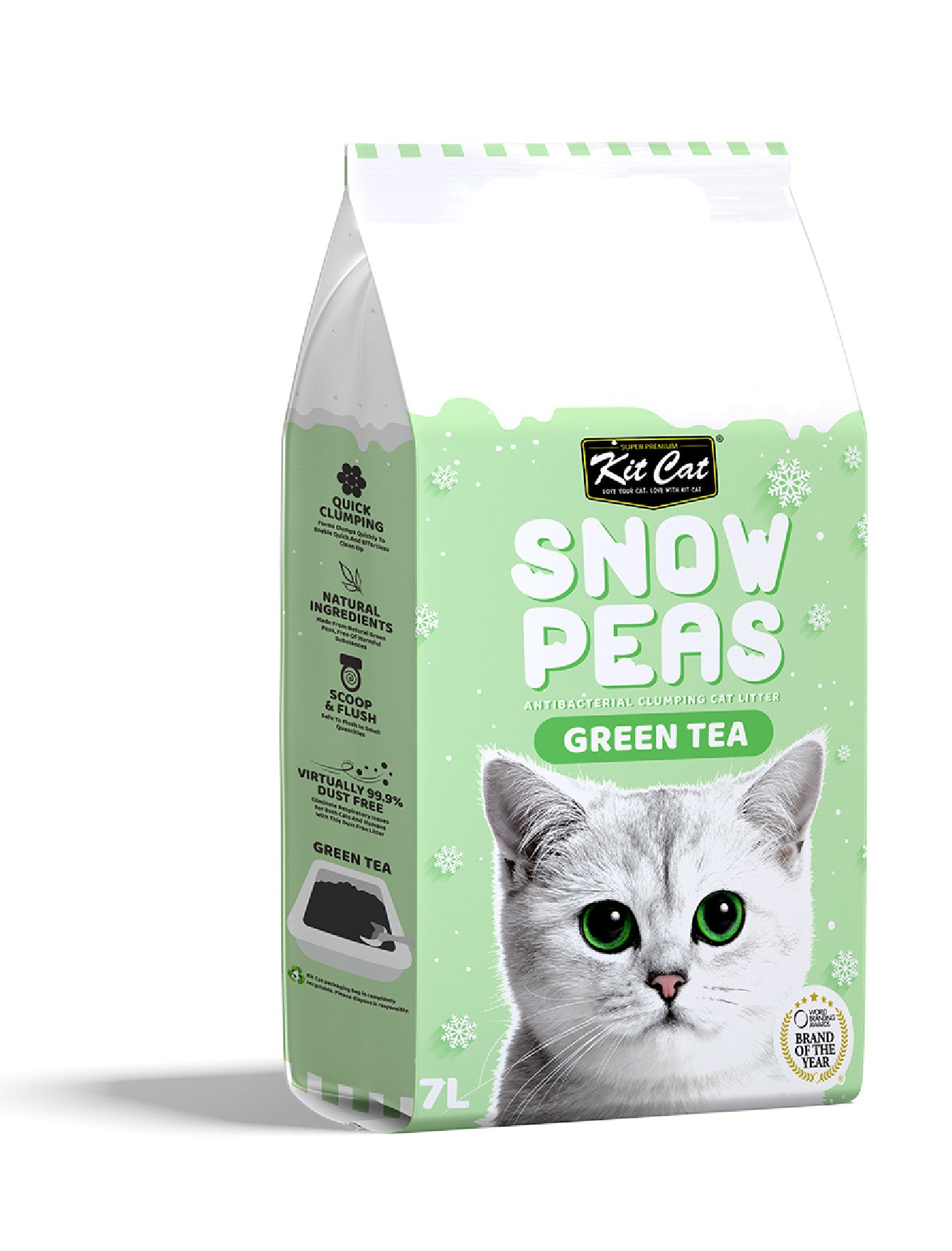 Kit Cat Snow Pea Cat Litter 7L (Green Tea) | Perromart Online Pet Store Singapore