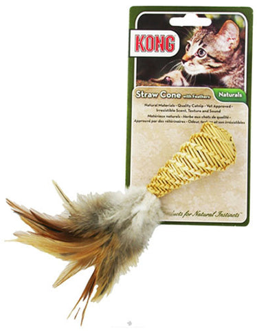 Kong Straw Cone w/Feathers Cat Toy | Perromart Online Pet Store Singapore