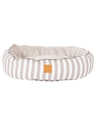Mog & Bone 4 Seasons Reversible Bed Latte Hamptons Stripe Print For Dog Small | Perromart Online Pet Store Singapore
