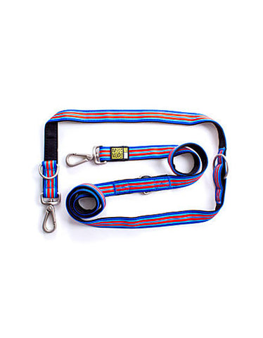 Max & Molly Hampton Strip Blue Dog Multifunction Leash | Perromart Online Pet Store Singapore