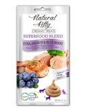 Natural Kitty Creamy Treats, SUPERFOOD BLEND - Tuna, Salmon & Blueberry 4 x 12g | Perromart Online Pet Store Singapore