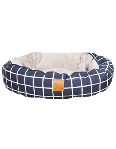 Mog & Bone 4 Seasons Reversible Bed Navy Check Print For Dog Small | Perromart Online Pet Store Singapore