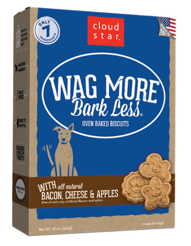 Cloud Star Wag More Bark Less Oven-Baked Biscuits Bacon, Cheese & Apples 454g