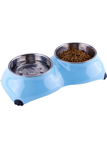 Super Design Light Blue Double Melamine Bowl for Dogs (3 Sizes) | Perromart Online Pet Store Singapore