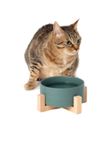 Paw Made Essentials Wood Base Ceramic Bowl Grey 2 Sizes