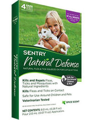 Sentry Natural Defense Flea & Tick Squeeze On Cat 4ct | Perromart Online Pet Store Singapore