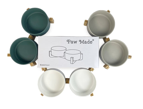 Paw Made Essentials Wood Base Double Ceramic Bowl Grey 2 Sizes