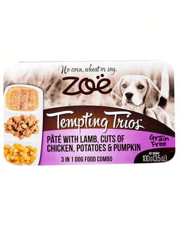 Zoe Tempting Trios Pate with Lamb, Cuts of Chicken, Potatoes & Pumpkin Dog Wet Food 100g | Perromart Online Pet Store Singapore