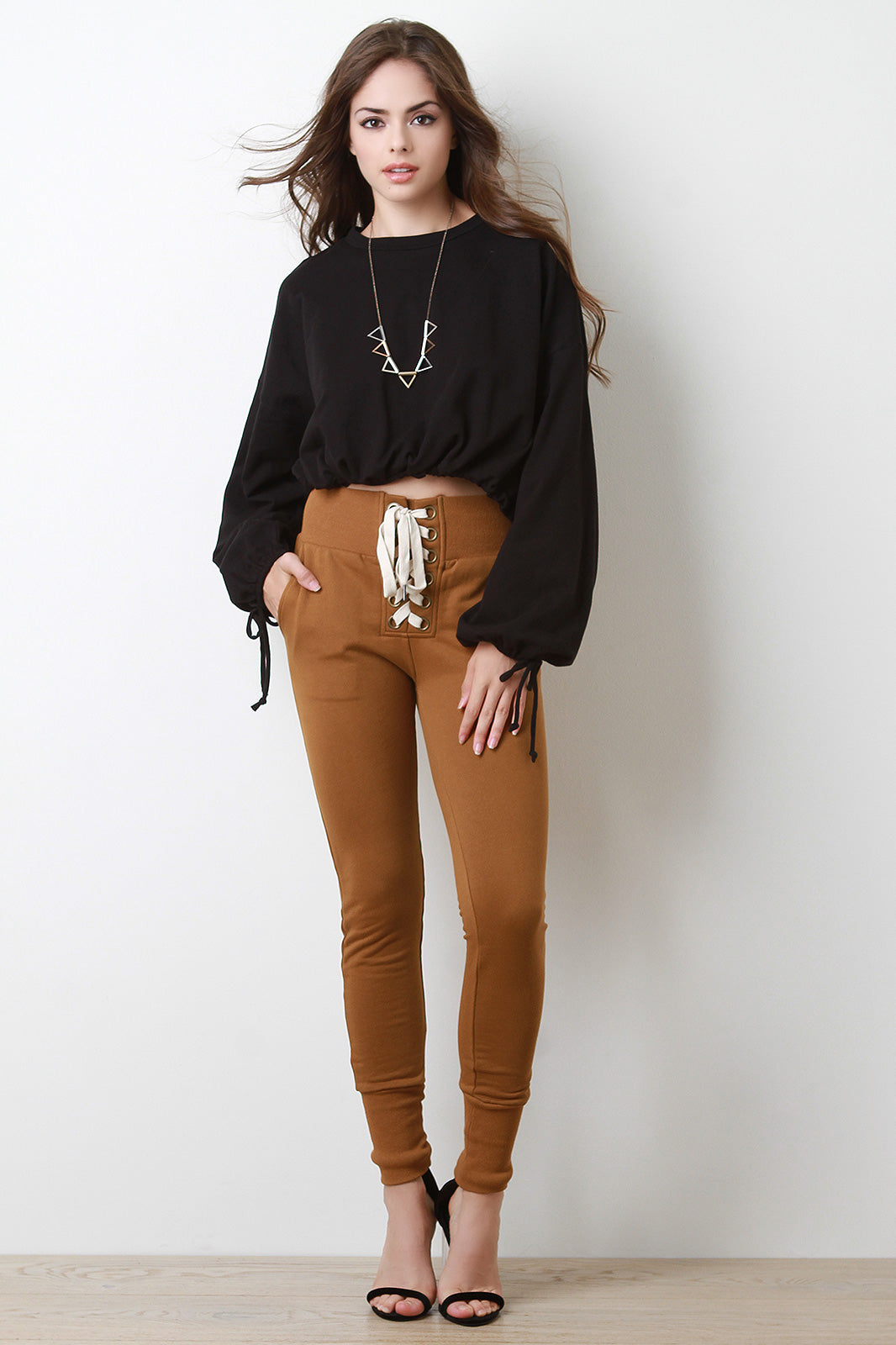 Corset Lace-Up French Terry Fitted Jogger Pants