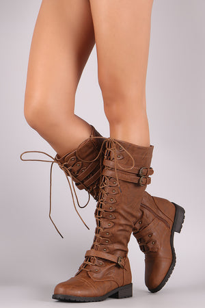 Buckled Combat Lace-Up Knee High Boots