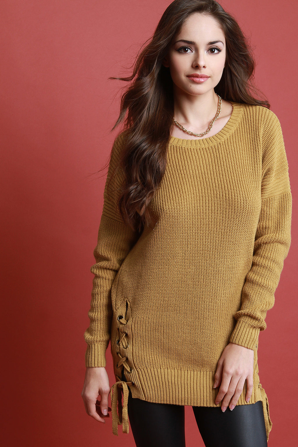 Chunky Knit Lace Up Side Longline Sweater