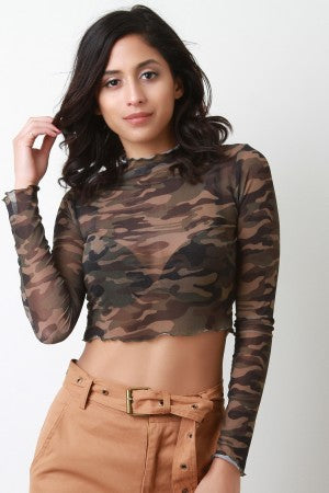 Semi-Sheer Camouflage Ruffled Trim Crop Top