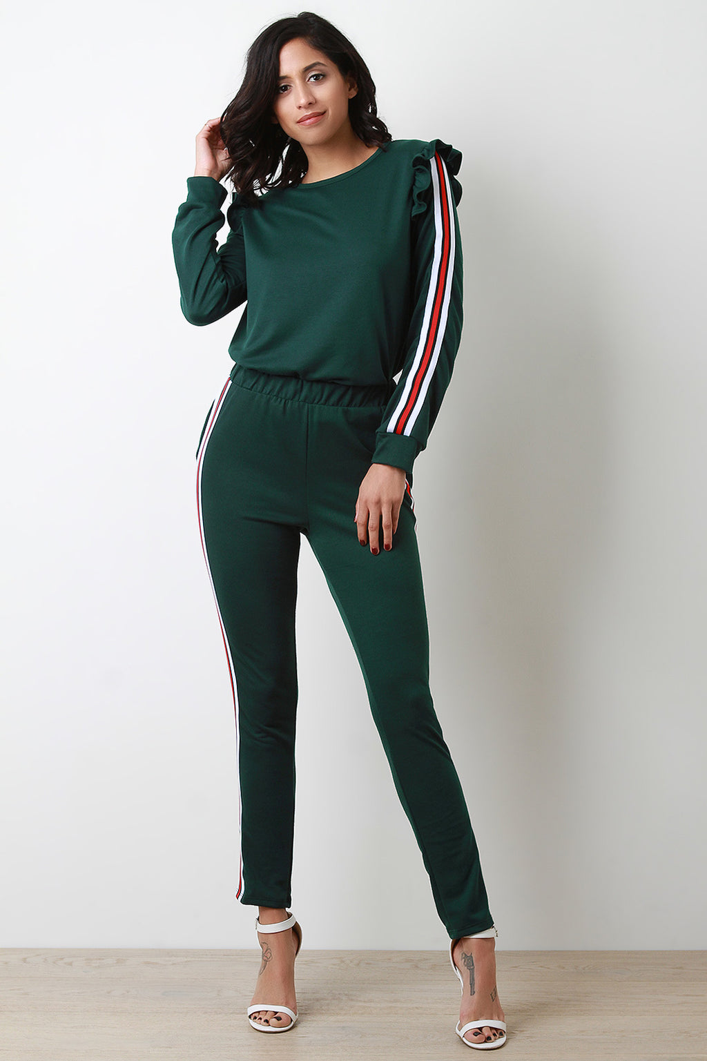 Ruffle Shoulder Sporty Striped Jogger Suit