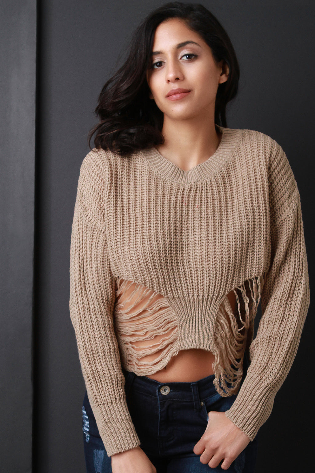 Shredded Loose Knit Long Sleeve Crop Sweater