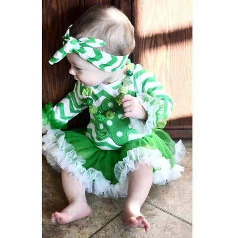61bd348d Baby Girls St. Patrick's Day Clover Chevron Tutu Onesie Boutique Outfit  Girls Baby Toddler Cute