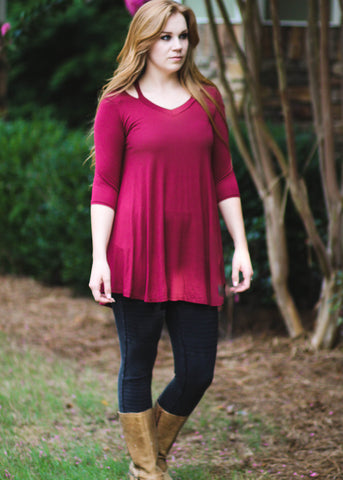 Lark Top cut neckline super soft deep red tunic with three quarter sleeves