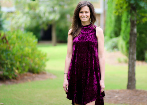 Passionately plum burgundy crushed velvet sleeveless dress with high low hemline