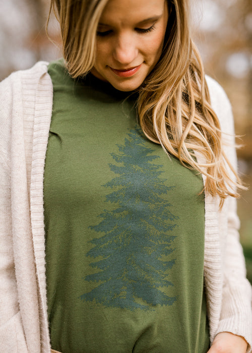 green short sleeve pine shirt - epiphany boutiques
