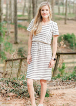 Christy Gray Stripe Dress