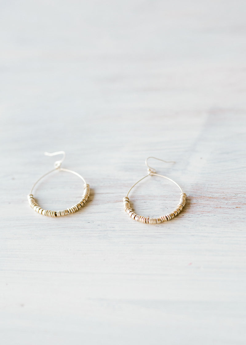 gold hoop earrings with disk - epiphany boutiques