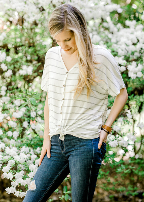 cream shirt with gray stripes - epiphany boutiques