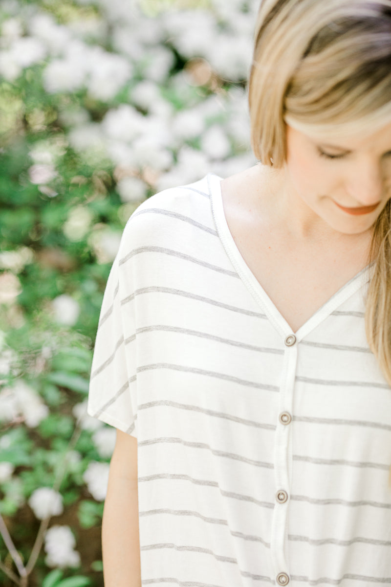 striped top with buttons - epiphany boutiques