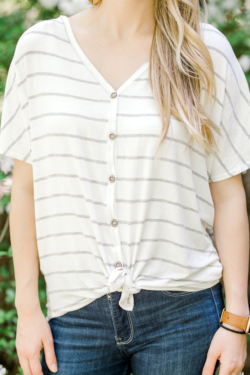 functional button top with stripes - epiphany boutiques