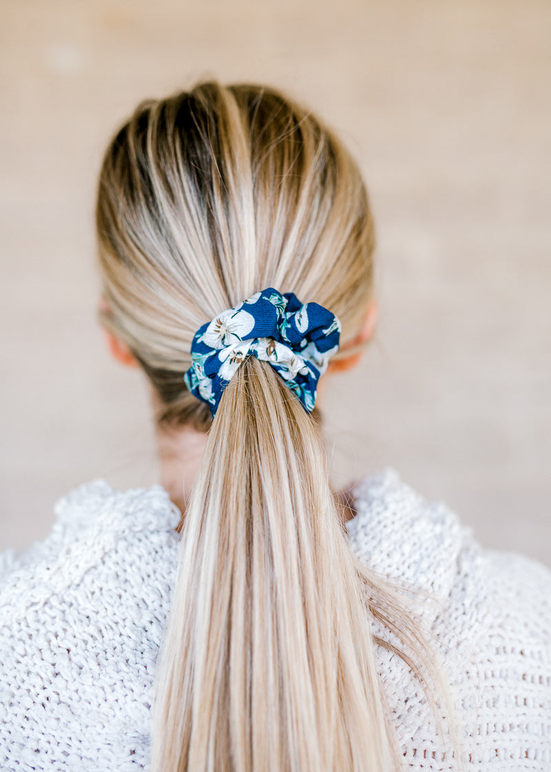 navy and floral printed scrunchie - epiphany boutiques